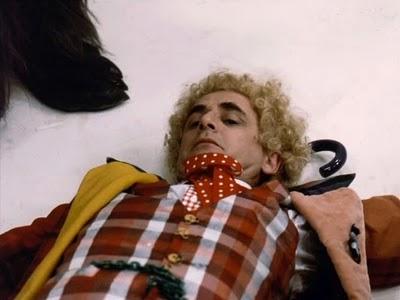 Sylvester McCoy in Colin Baker wig