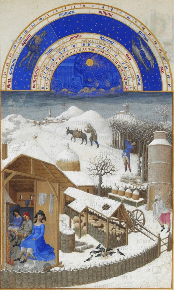 """February,"" Tres Riche Hours of jean Duc de Berry, 15th century (Wikipedia)"