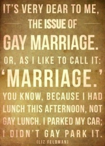 Gay Marriage, or As I call it: Marriage