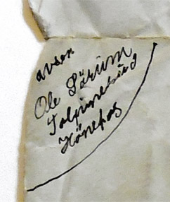 Return Address from Ole Sorum