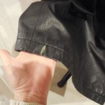 Chalk on black leather