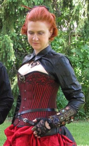 Red steampunk outfit