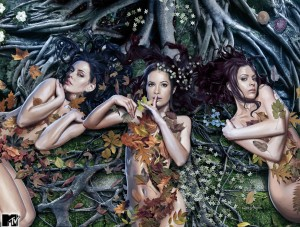 Naked, Sexy Witches in Garden