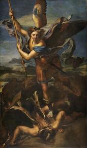 Michael vanquishing Satan