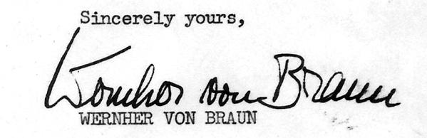 Signature of Wernher Von Braun
