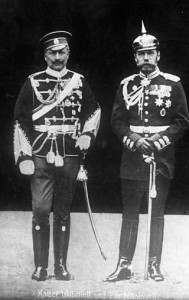 Kaiser Wilhelm II and Czar Nicholas II wearing each others' uniforms.
