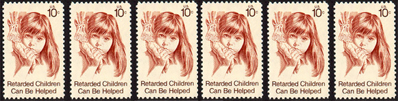 "Strip of 1974 stamps dedicated to ""retarded"" children"