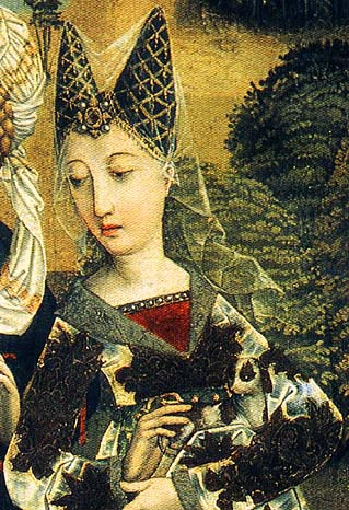 Lady wearing a two-pointed hennin, 15th century.