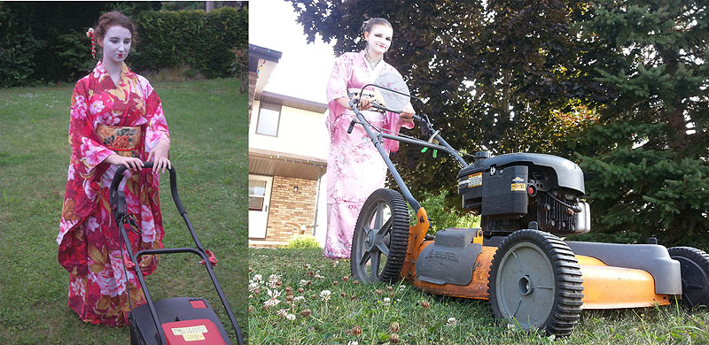 GISHWHES Geisha moving the lawn