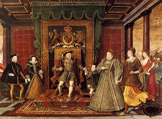 1572 family portrait.  At this point, everyone in the painting is dead except Elizabeth, who stresses her relationwhip with her father, as well as plentitude and PEace.  Poor Mary is tucked in a corner with her unpopular husband and Mars, Roman god of war.