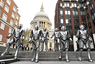 "Cybermen coming out of St. Paul's in ""Death in Heaven."""
