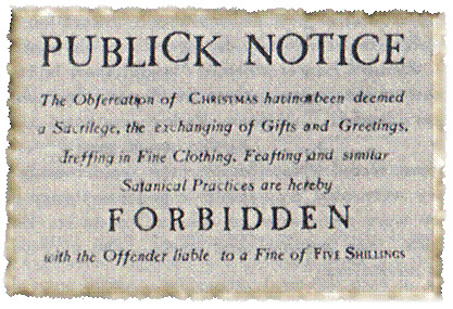 17th century notice punishing Christmas celebrants 5 shillings