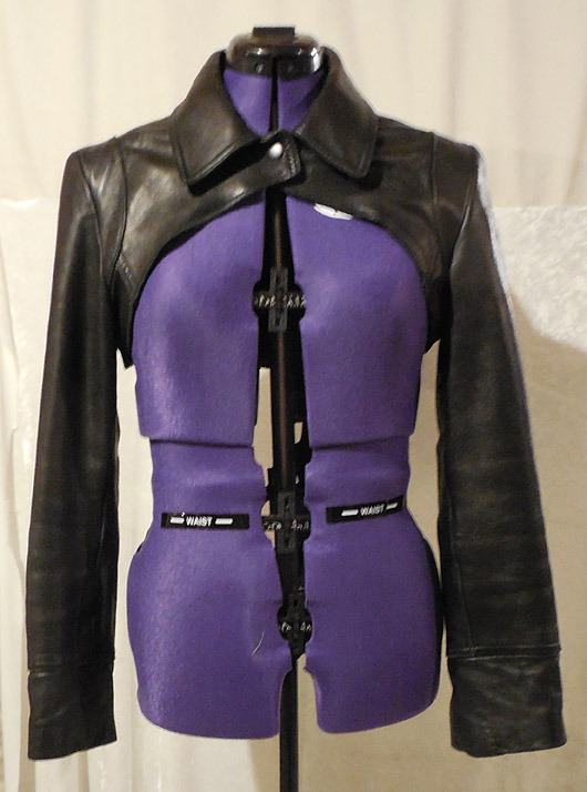 Leather bolero created from leather jacket