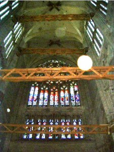 Interior of Beauvais Cathedral with wooden bracing