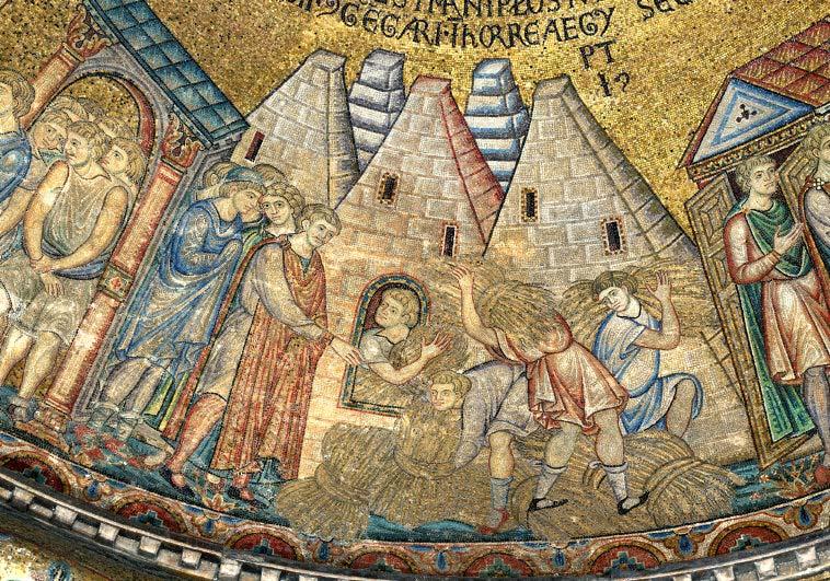 Medieval illustration of Joseph's granaries