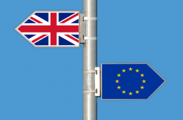 Signposts bearing flags of UK and EU