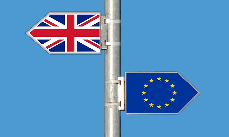 Signposts bearing flags of UK and EU