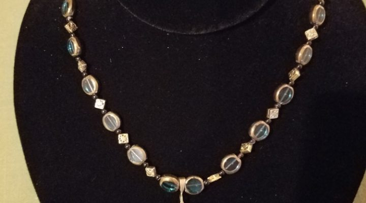 Roman coin and teal beads necklace
